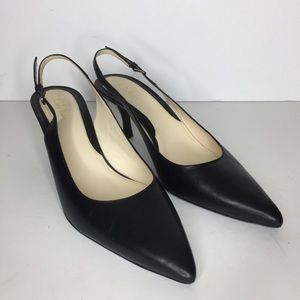 Cole Haan Black Leather Slingback Pointed Toe Shoe